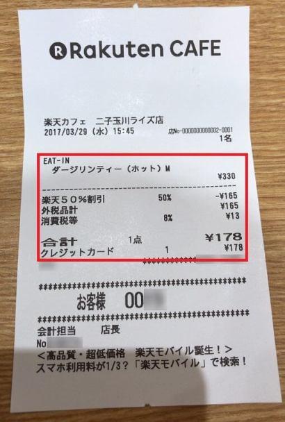 楽天カードでの楽天カフェ支払いレシート(50%OFF適用)