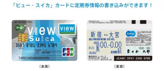 「ビュー・スイカ」カードの定期券一体型機能