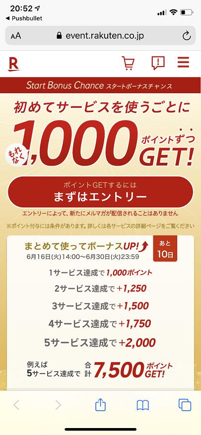 楽天グループのサービス初回利用で1,000ポイント