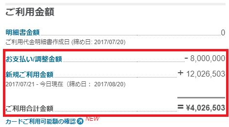 アメックスの1000万円超の利用履歴
