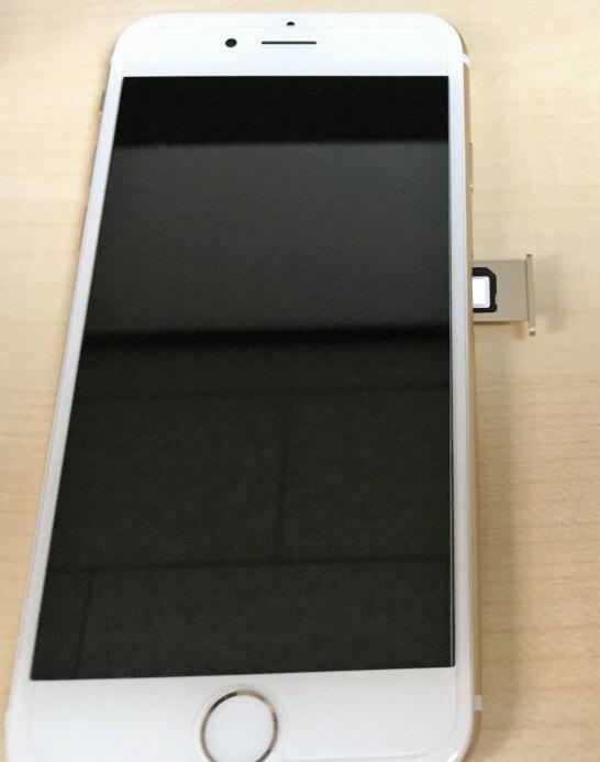 iPhone 6にmineoのSIMカードを入れたところ