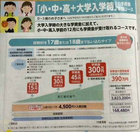 小・中・高+大学入学時の学資金準備コース(17歳・18歳払込プラン)