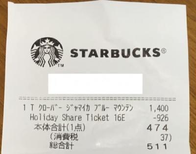 スターバックスコーヒーのドリンクチケット使用時のレシート