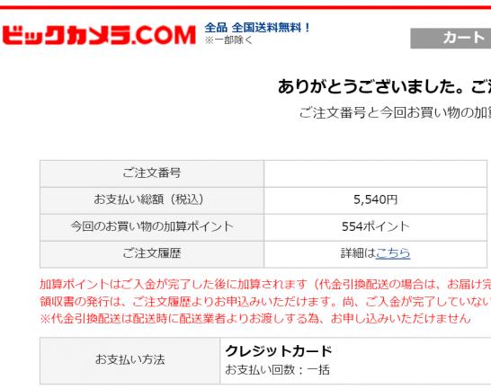 ビックカメラ.comの注文画面
