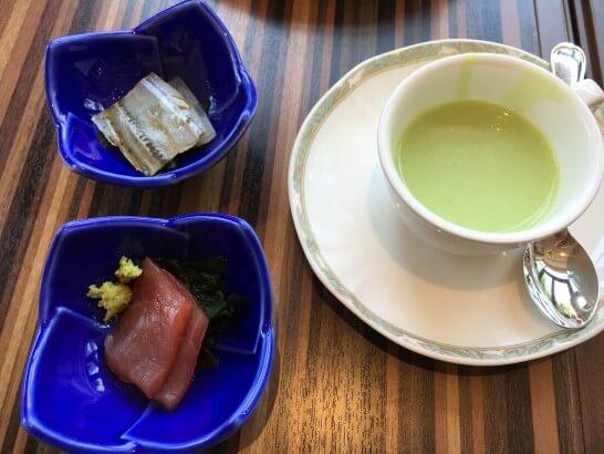 フォレスト・イン昭和館のマグロの刺身・スープ