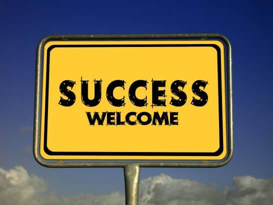SUCCESS WELCOMという看板