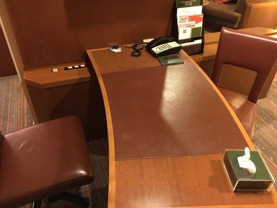 無料アップグレードしてくれた部屋のテーブル