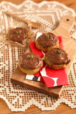 チョコがかかったクッキー