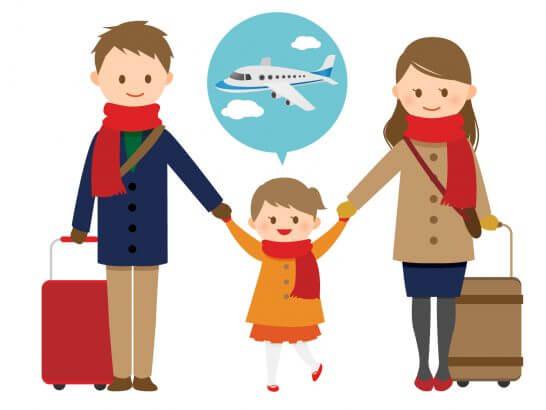 飛行機に乗って旅行に行く家族のイラスト