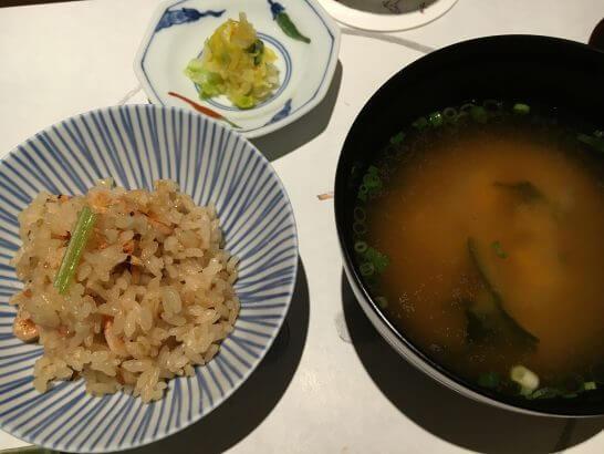 銀座 大志満の炊き込みご飯・味噌汁・香の物