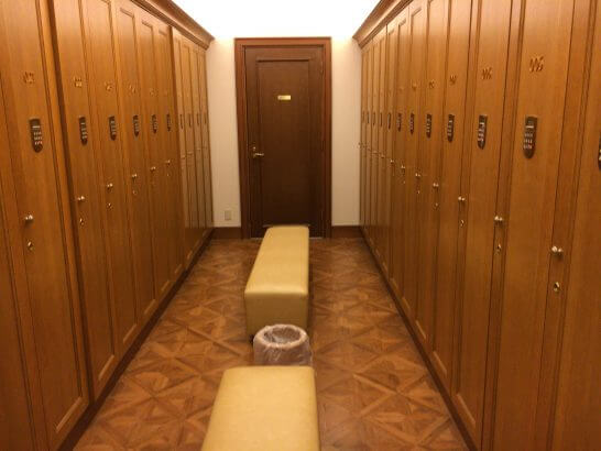 リーガロイヤルホテル東京のヘルスクラブの更衣室