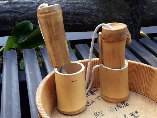 竹で作ったけん玉