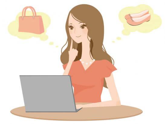 ショッピングする女性のイラスト
