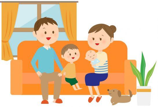 家でくつろぐ家族のイラスト