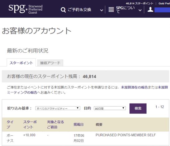 SPGのスターポイント画面
