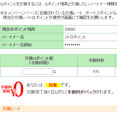 Gポイントのメトロポイントへの交換ポイント入力画面(手数料無料)