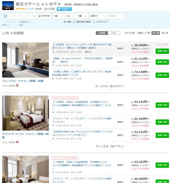 東京ステーションホテルの一休.comでの限定セール