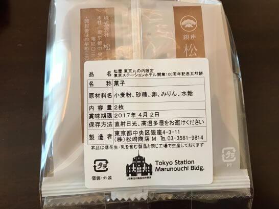 東京ステーションホテルの一休ダイヤモンド会員特典(ウェルカムプチギフトの原材料)