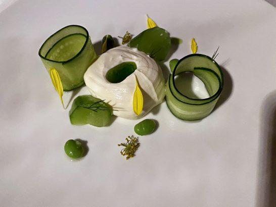 スモークリコッタチーズ, 塩麹きゅうり, 枝豆, ディルオイル, わさび菜