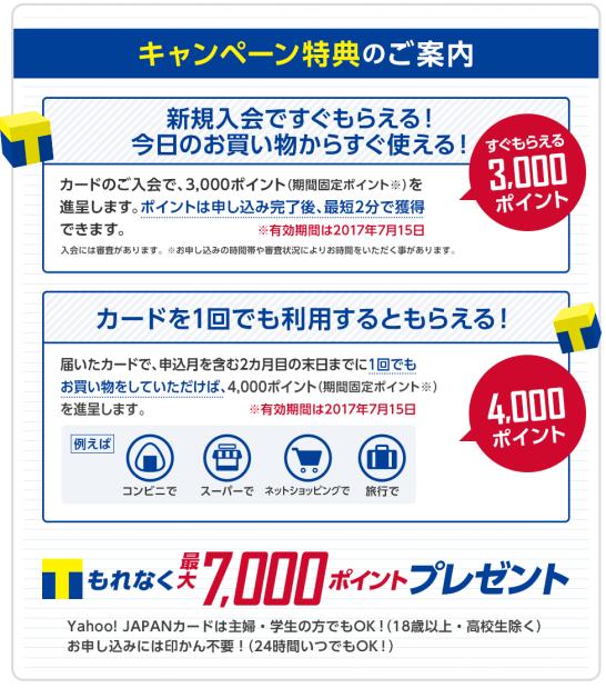 ヤフーカードのキャンペーン(7,000Tポイント)