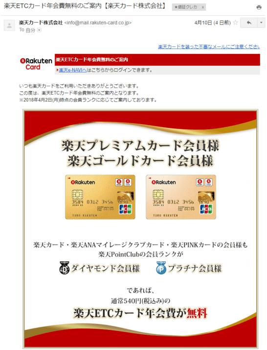 楽天カードの楽天ETCカード年会費無料の案内