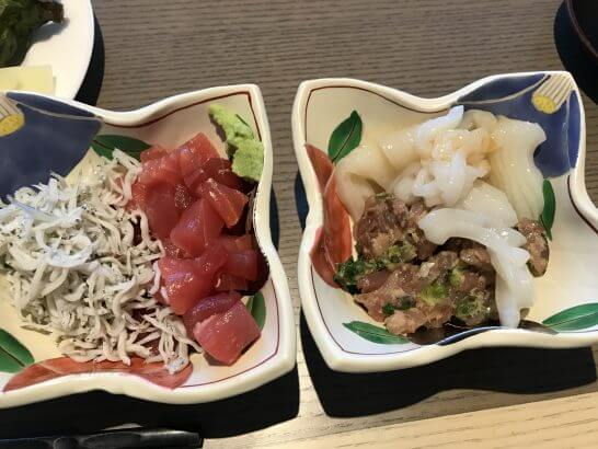 ヒルトン小田原の朝食のしらす・マグロ・味・イカの刺身