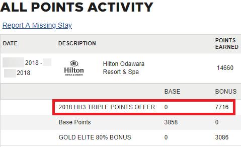 ヒルトンオナーズのキャンペーンのボーナスポイント獲得履歴
