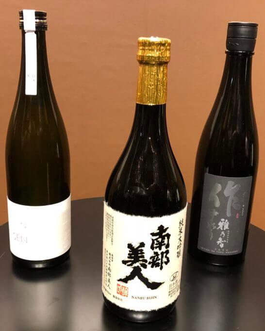 純米大吟醸部門2018 1位~3位のボトル