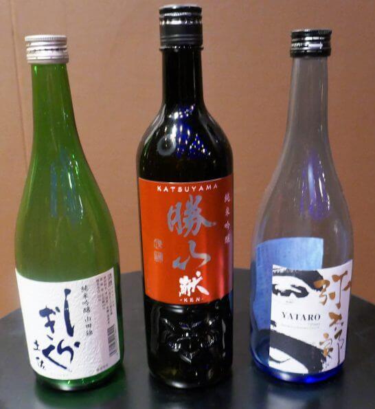 純米吟醸部門1位~3位のボトル