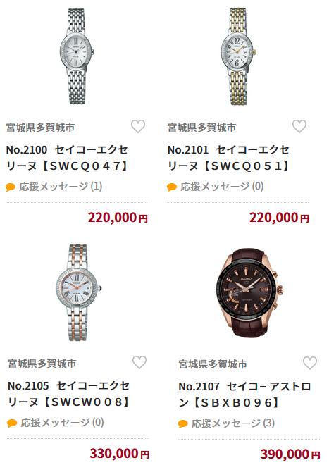 宮城県多賀城市のふるさと納税返礼品(セイコーの時計)