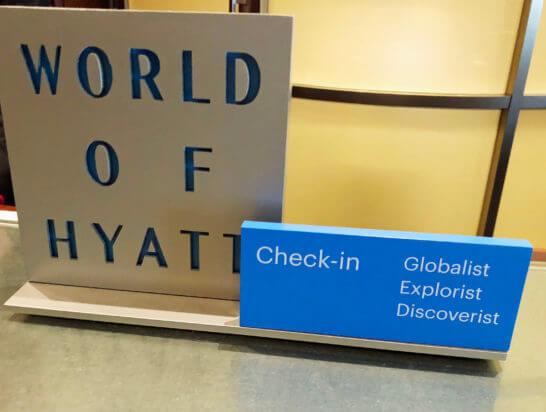 ワールドオブハイアットの上級会員専用チェックインカウンター