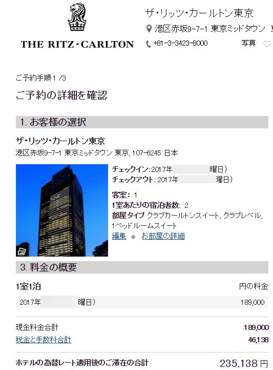 リッツ・カールトン東京のクラブカールトンスイート, クラブレベルの宿泊料金