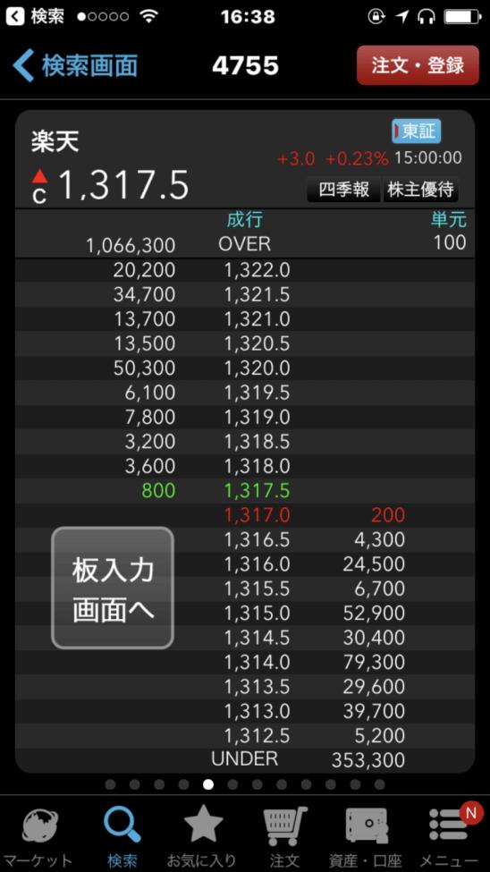 楽天証券のスマホアプリ(iSPEED) (板発注画面