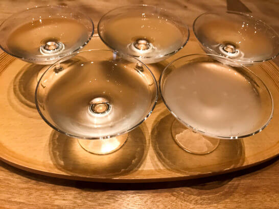 獺祭バーの利き酒セット