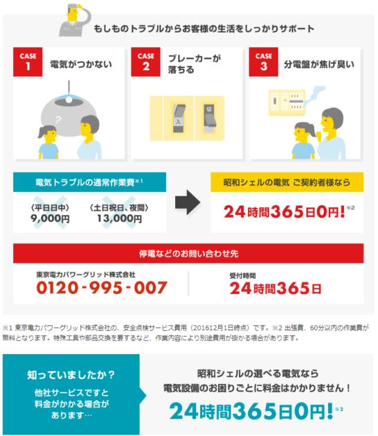 昭和シェルの選べる電気の「電気駆けつけサービス」の概要