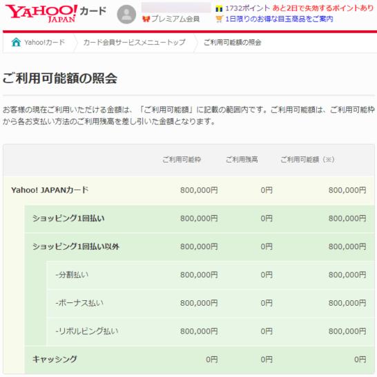 Yahoo! JAPANカードの利用可能額