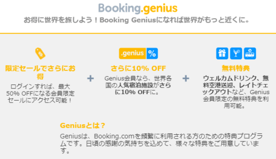 Booking.comのGenius会員の特典説明