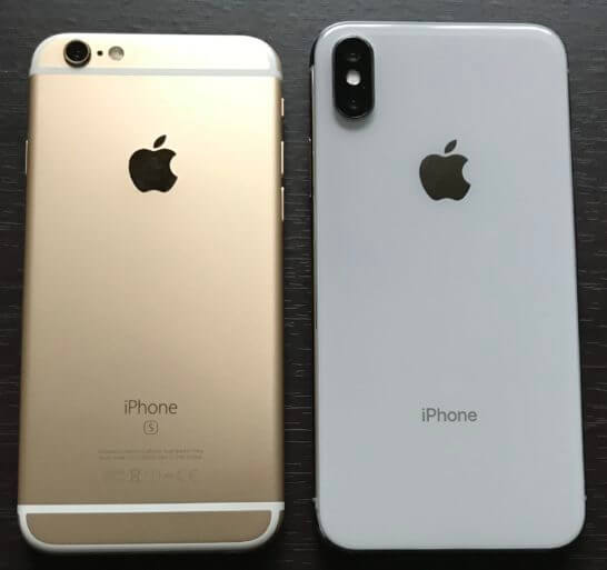 iPhone 6sとiPhone X(裏面)