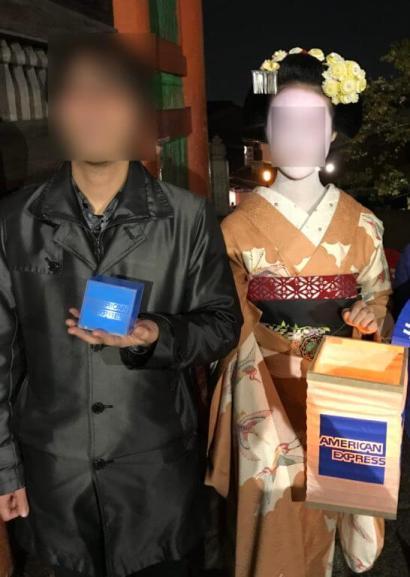 夜の清水寺(アメックスの夜間参拝イベント)での舞妓さんとの記念撮影