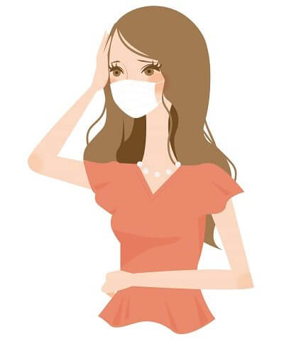 風邪の女性のイラスト