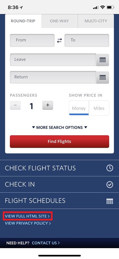 デルタ航空のモバイルサイト