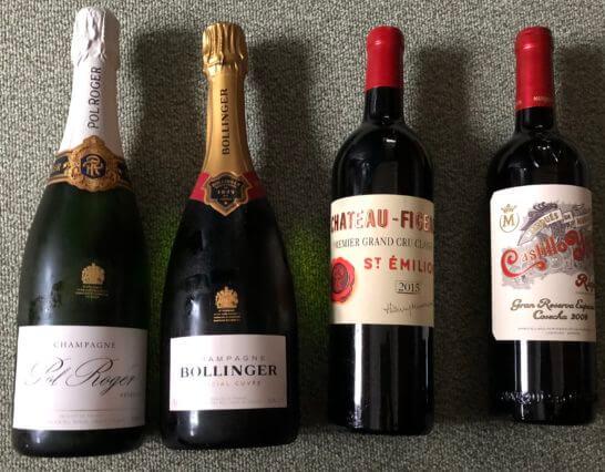2本のシャンパンと2本の赤ワイン