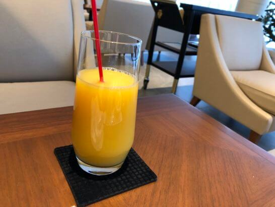 ビューゴールドラウンジのオレンジジュース