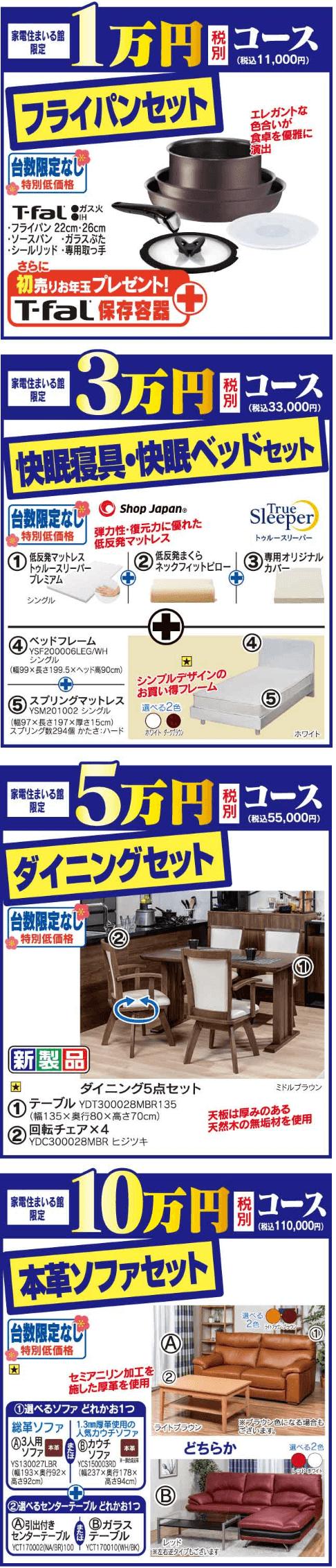 ヤマダ電機の家具・インテリア福袋4種類の内容