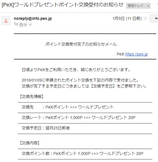 PeXからのワールドプレゼントポイント交換受付のお知らせメール