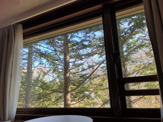 軽井沢マリオットのエグゼクティブスイートの部屋からの景色