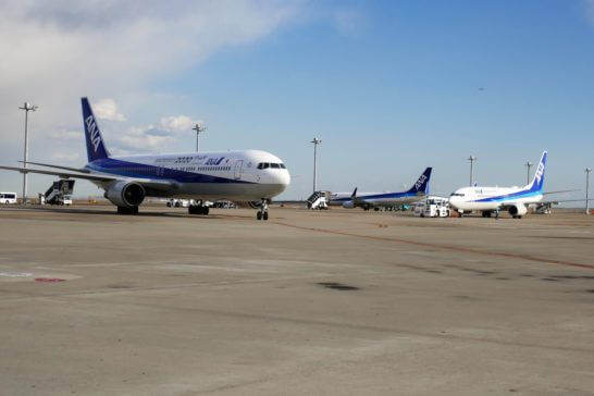 たくさんのANAの飛行機