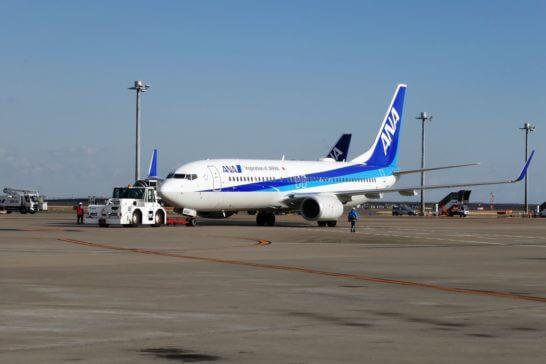 伊丹に出発するANAの飛行機