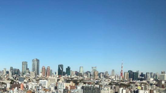 ウェスティンホテル東京のエグゼクティブ クラブラウンジからの壮観