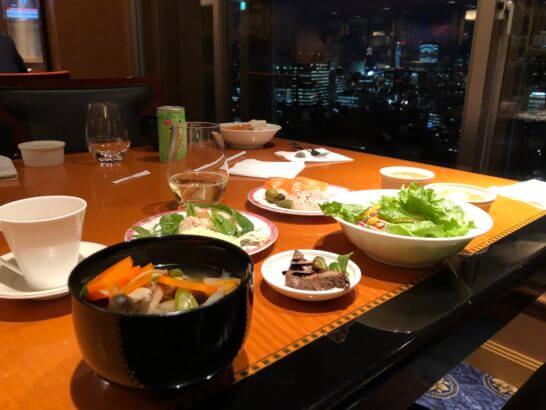 ウェスティンホテル東京のエグゼクティブ クラブラウンジの食事